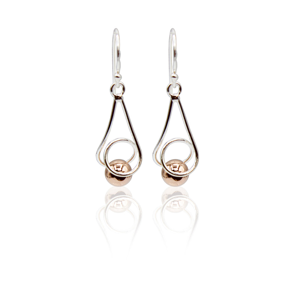 Rose Gold Plated Sphere Sterling Silver Dangling Earrings