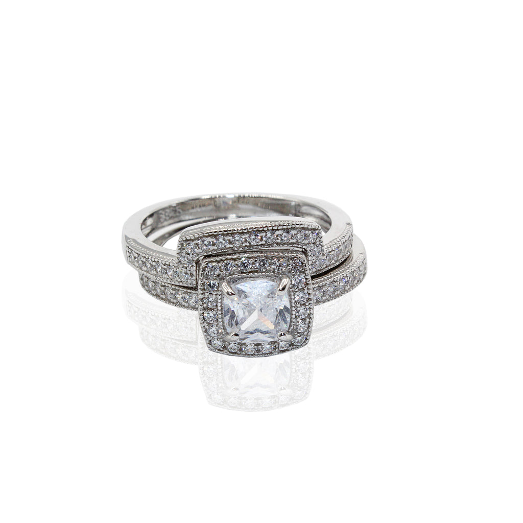 Cushion Cut Halo with Traditional Paved CZ Duo Set Sterling Silver Ring