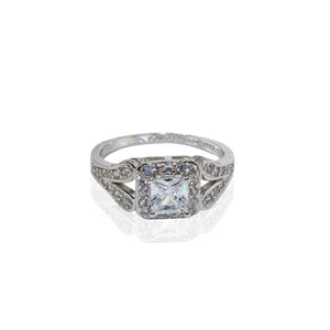 Square Halo with Traditional Paved Split Shank CZ Sterling Silver Ring