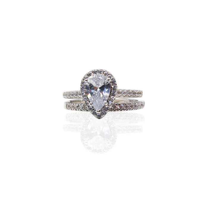 Pear Halo with Paved Half Infinity CZ Duo Set Sterling Silver Ring