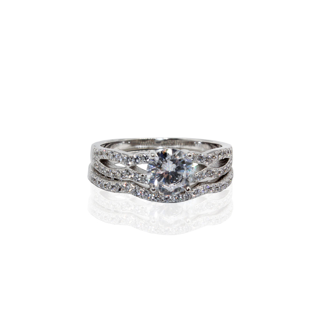 Round Prong Setting with Side Stones and Split Shank CZ Duo Set Sterling Silver Ring
