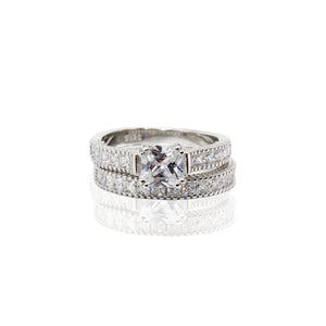 Asscher Cut Prong Setting with Basket Paved Half Infinity CZ Duo Set Sterling Silver Ring