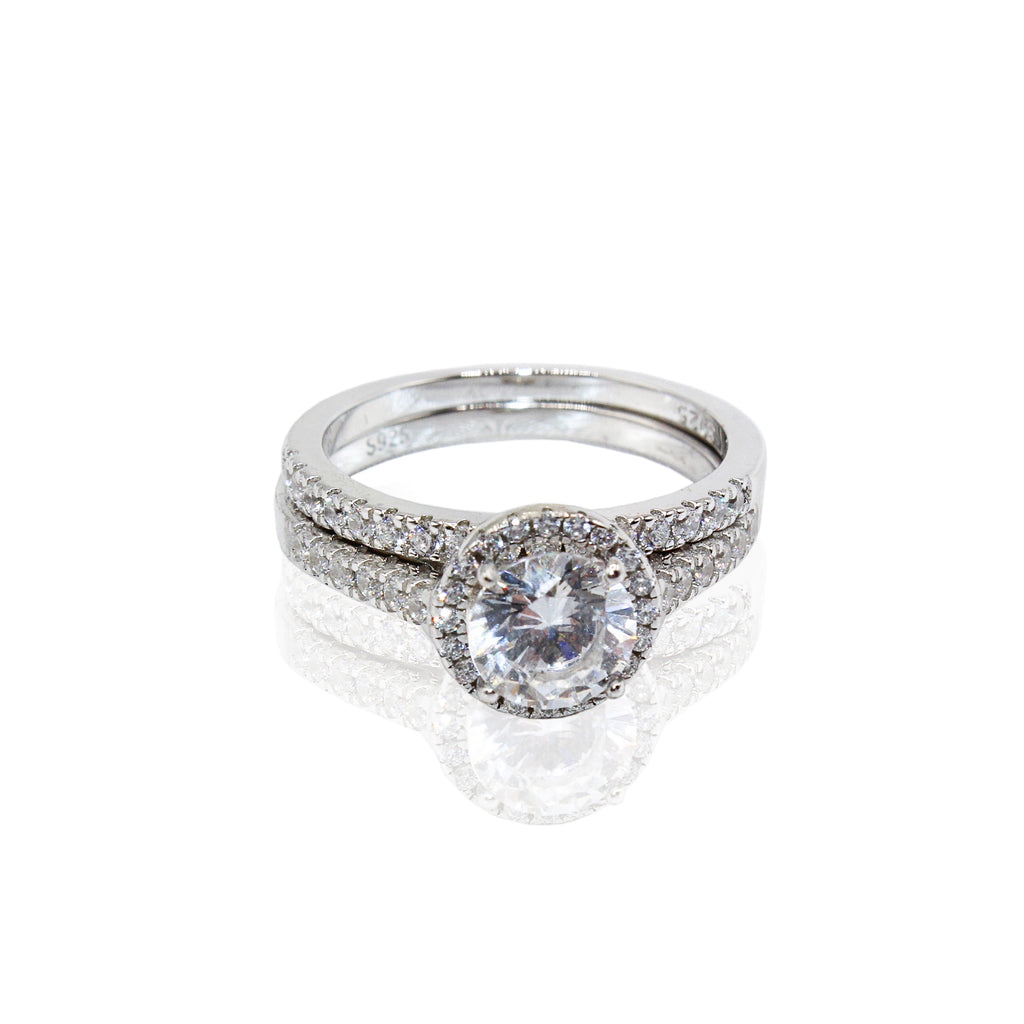 Round Halo with Traditional Paved CZ Duo Set Sterling Silver Ring