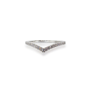 Basket Micro Pave CZ Chevron Sterling Silver Ring