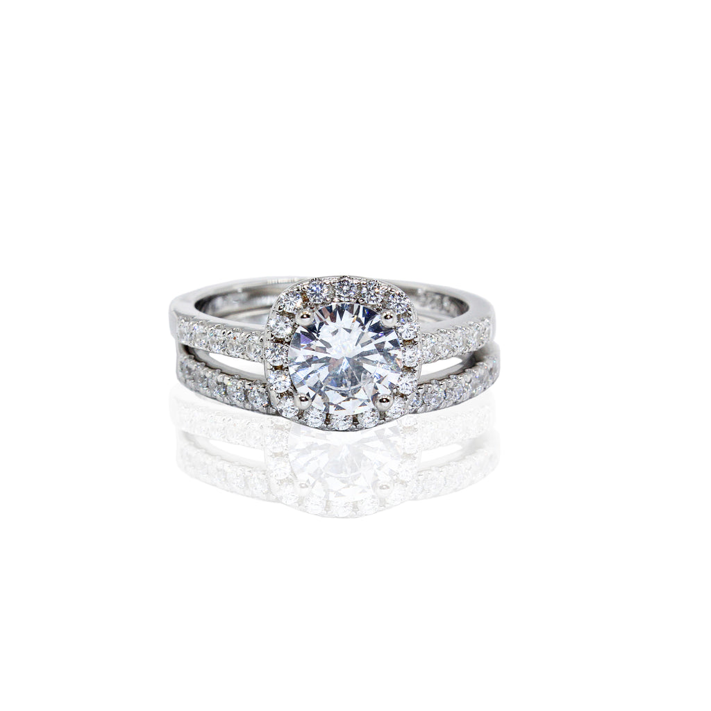 Cushion Cut Halo with Paved CZ Duo Set Sterling Silver Ring