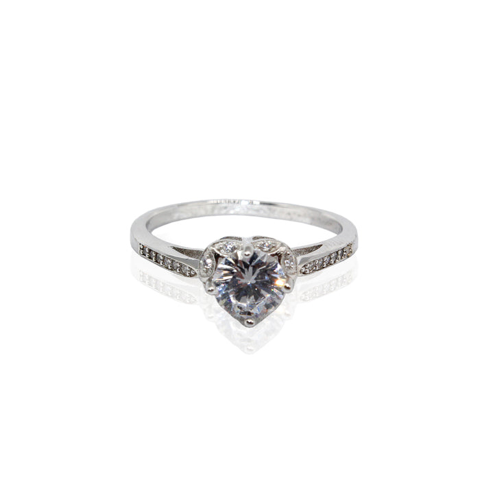 Round Solitaire Heart Setting Basket Paved CZ Sterling Silver Ring