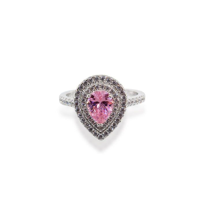 Pink Pear Double Floating Halo with Traditional Paved CZ Sterling Silver Ring