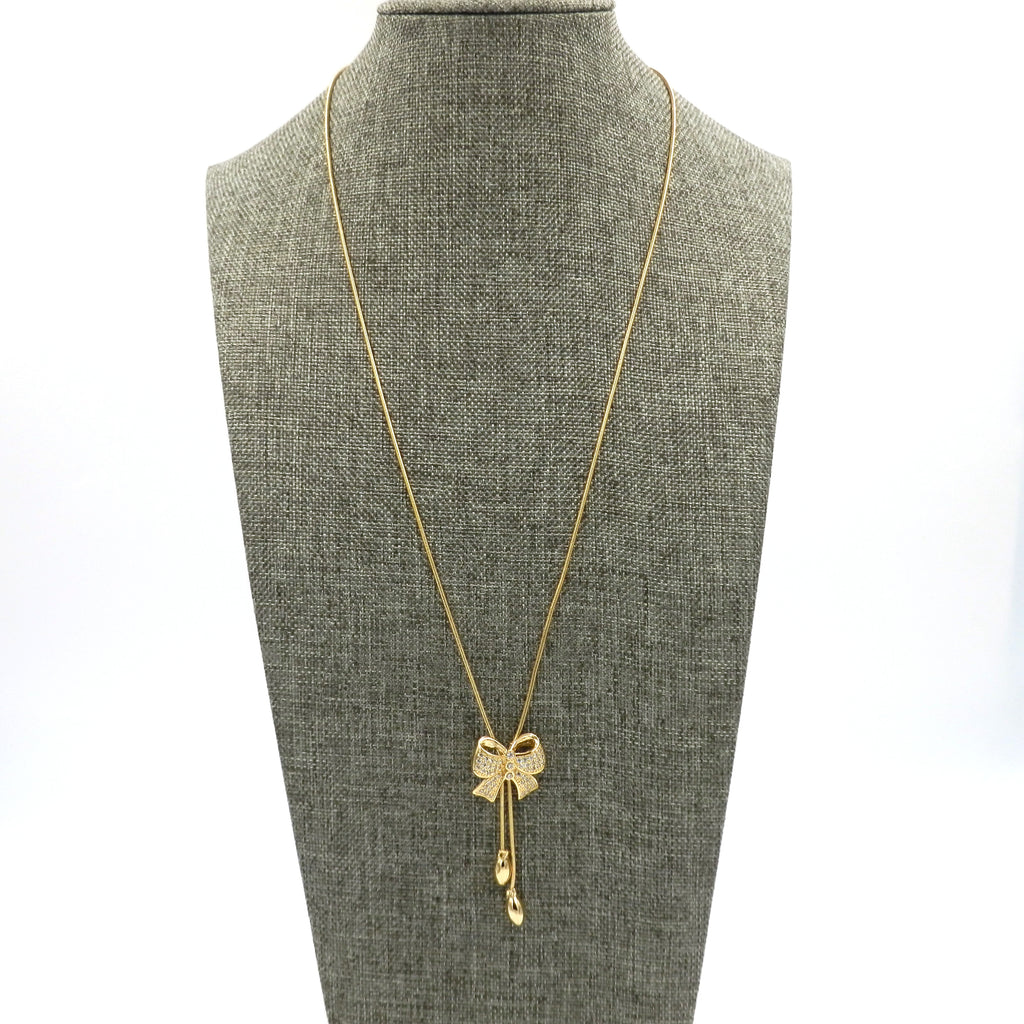 Gold CZ Adjustable Bow Necklace