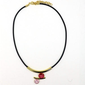 Double CZ Gold Plated Corded Necklace