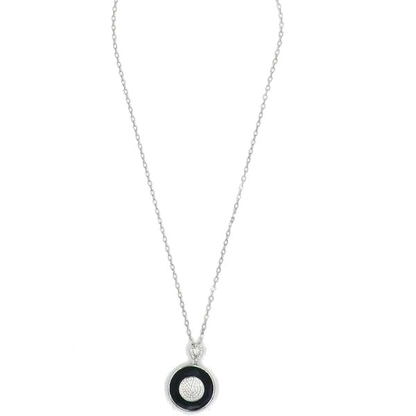Stainless Steel CZ Ceramic Circle Necklace