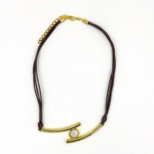 CZ Gold Plated Multi-Corded Necklace