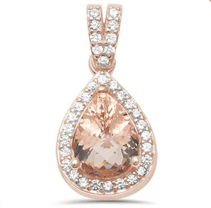Pear-Shaped Morganite with CZ Accents Rose Gold Plated Sterling Silver Necklace