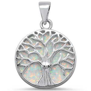 Round Opal Tree of Life Rhodium Plated Sterling Silver Necklace
