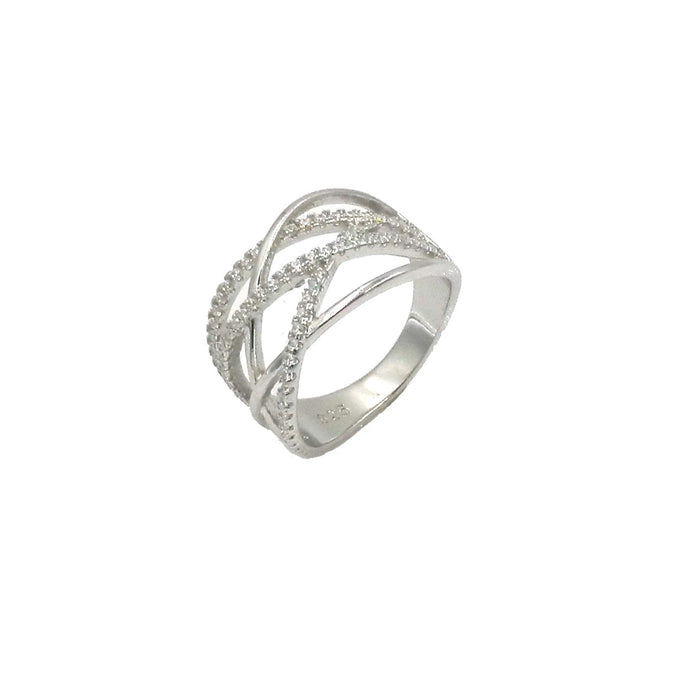 Sterling Silver CZ Lattice Ring