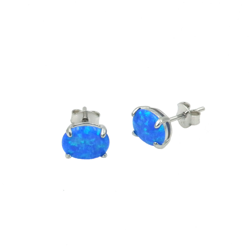 Opal Oval Stud Earrings