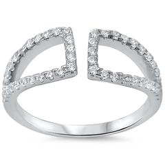 CZ Open Wrap Sterling Silver Ring