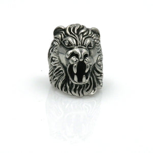 Stainless Steel Black Gun Lion Roar Ring