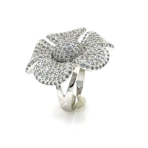Rhodium CZ Blossoming Daisy Fashion Ring