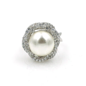 Rhodium CZ Large Pearl Floral Fashion Ring