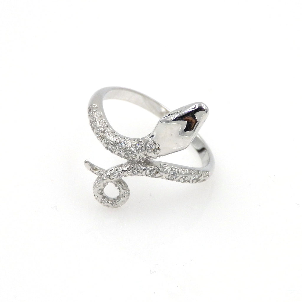 Rhodium Snake Ring