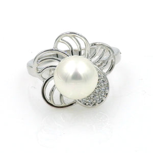 Rhodium Floral CZ Pearl Ring