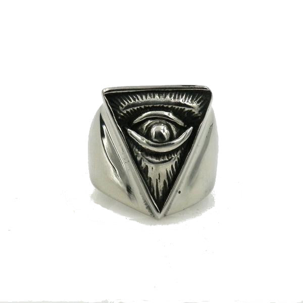 Stainless Steel Black Gun Eye of Providence Ring