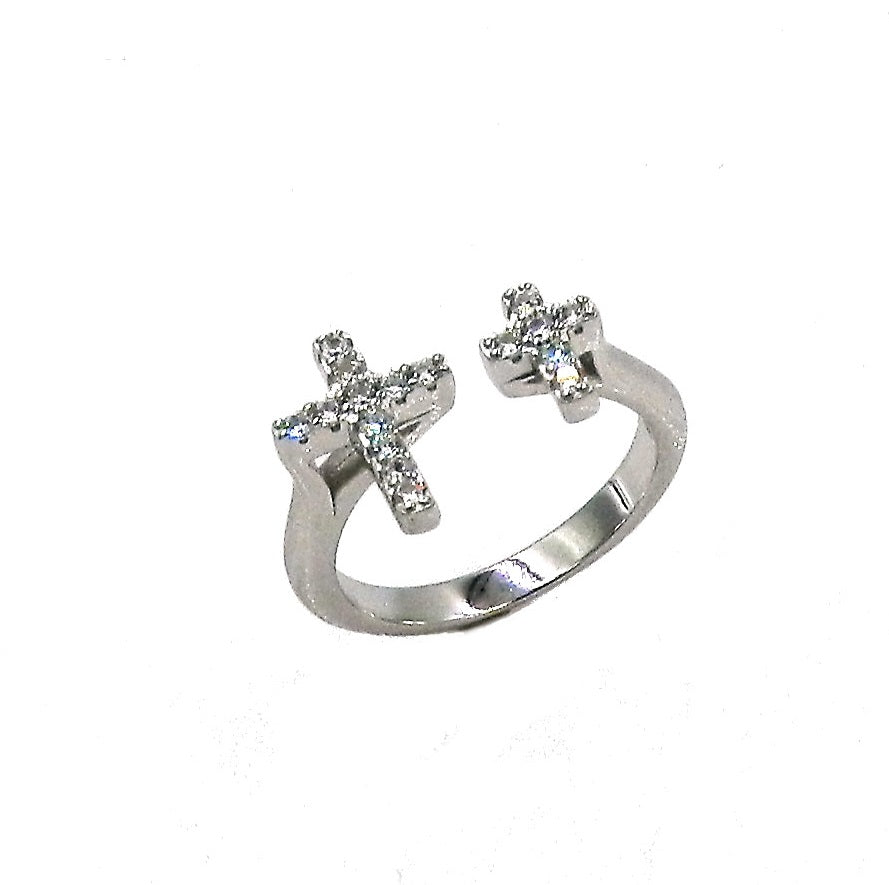 Sterling Silver Dual Cross CZ Ring
