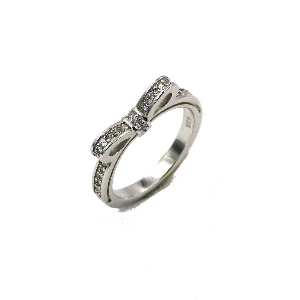 Sterling Silver Sparkling Bow CZ Ring