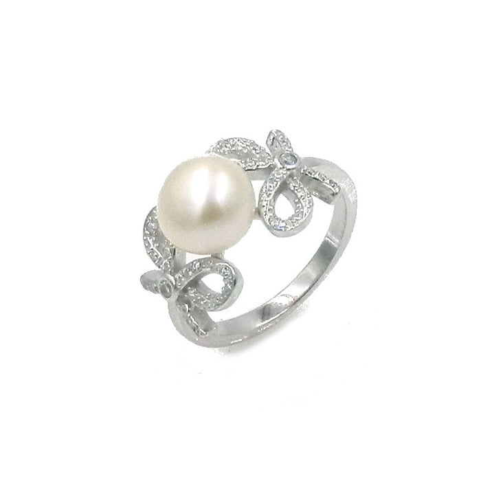 Sparkling Ribbon and Pearl Simulated Diamond Sterling Silver Ring