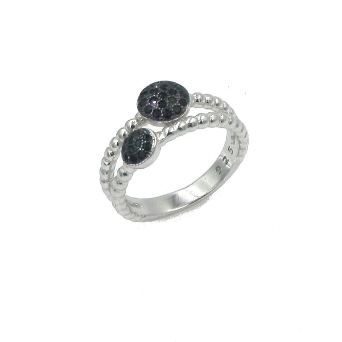 Double Black Round CZ Rope Sterling Silver Ring
