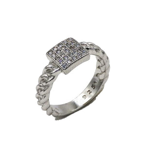 Sterling Silver Fancy Braided Square CZ Ring