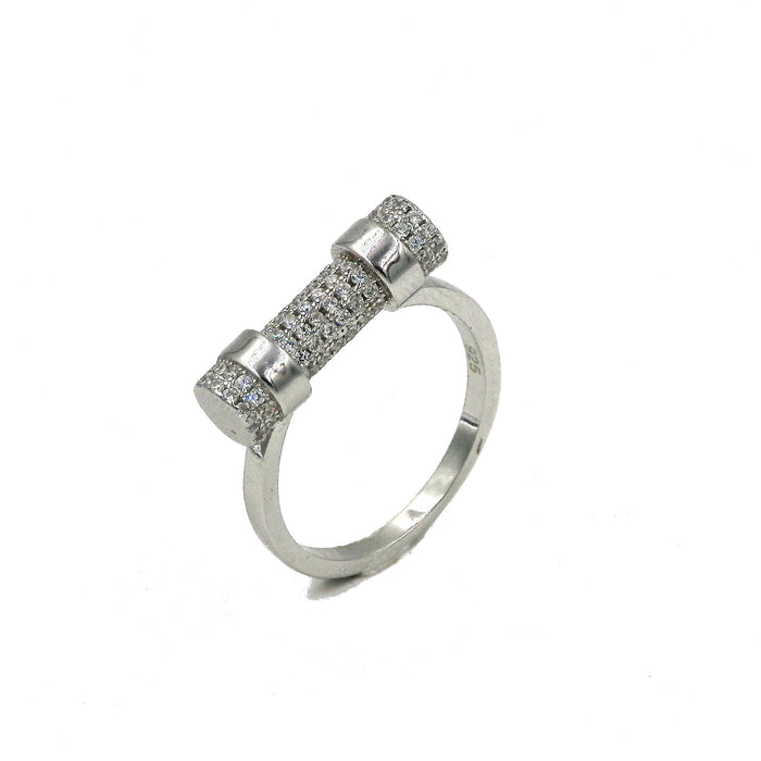 Sterling Silver Cylindrical Tube CZ Ring