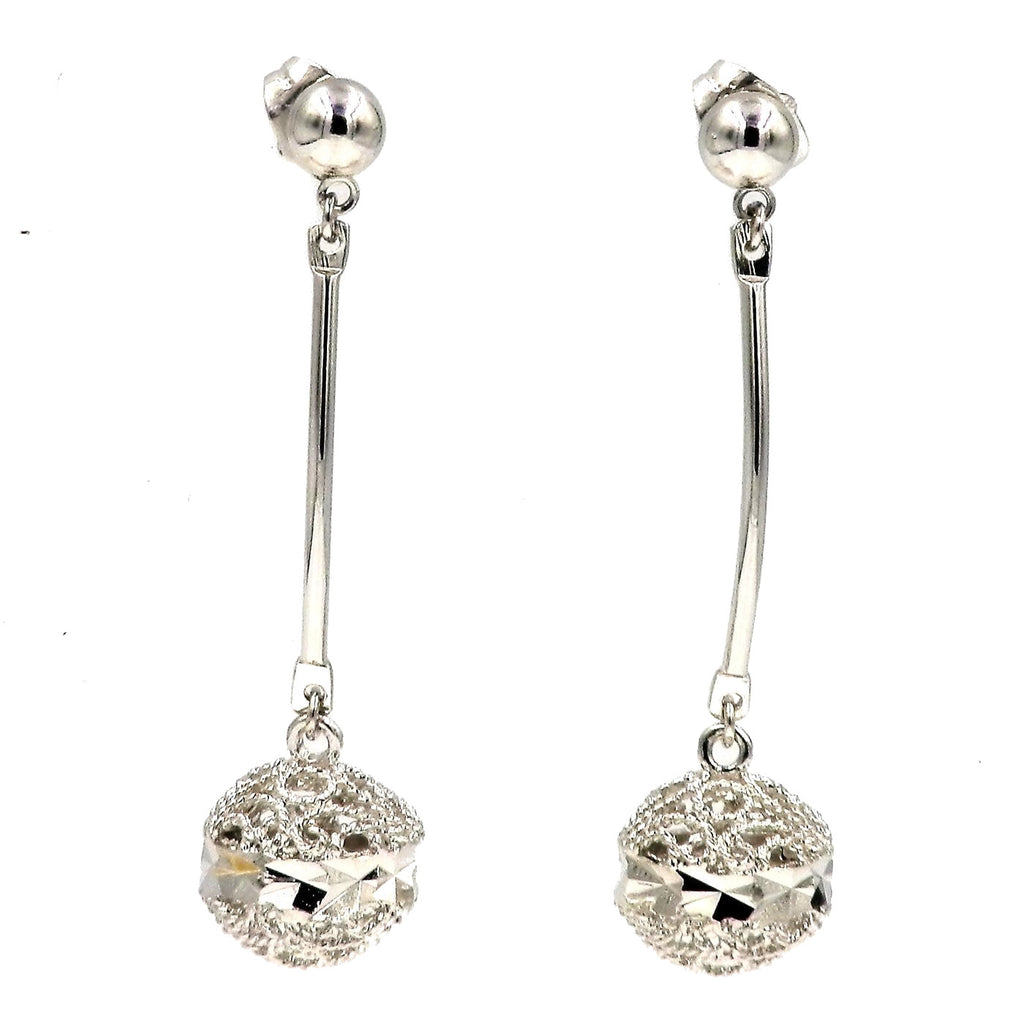 Silver Solar Sphere Drop Earrings