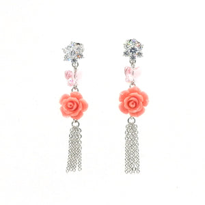 Swarovski Element Rose Metal Tassel Earrings