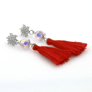 Swarovski Element Star Tassel Stud Earrings