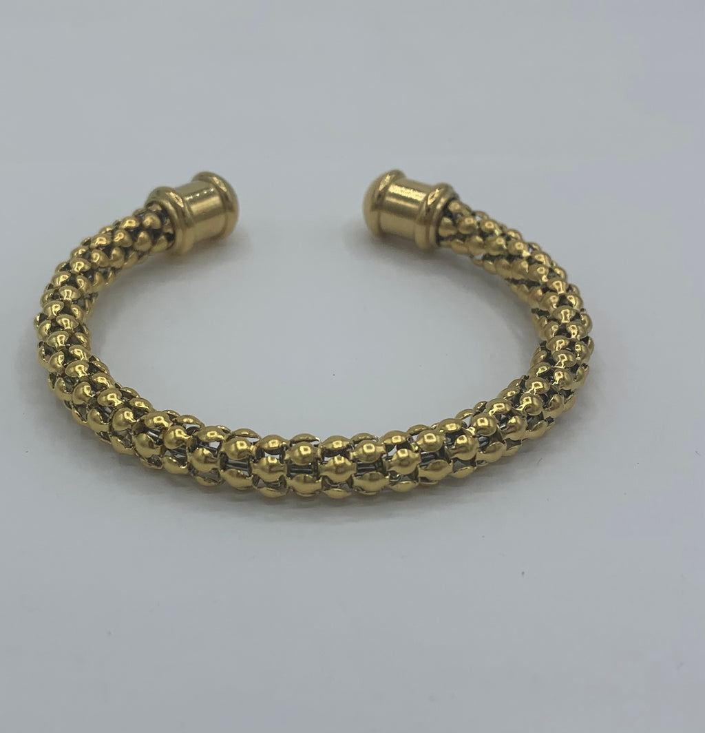 Yellow Gold Snake Skin Stainless Steel Cuff Bracelet