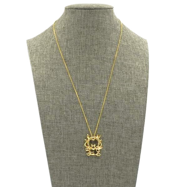 Gold CZ Happy Cow Necklace