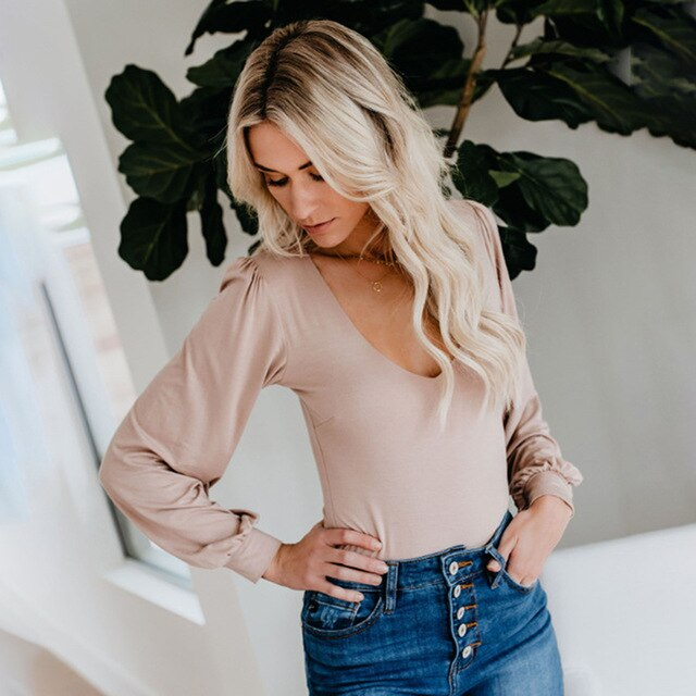 V Neck Long Sleeve Bodysuit