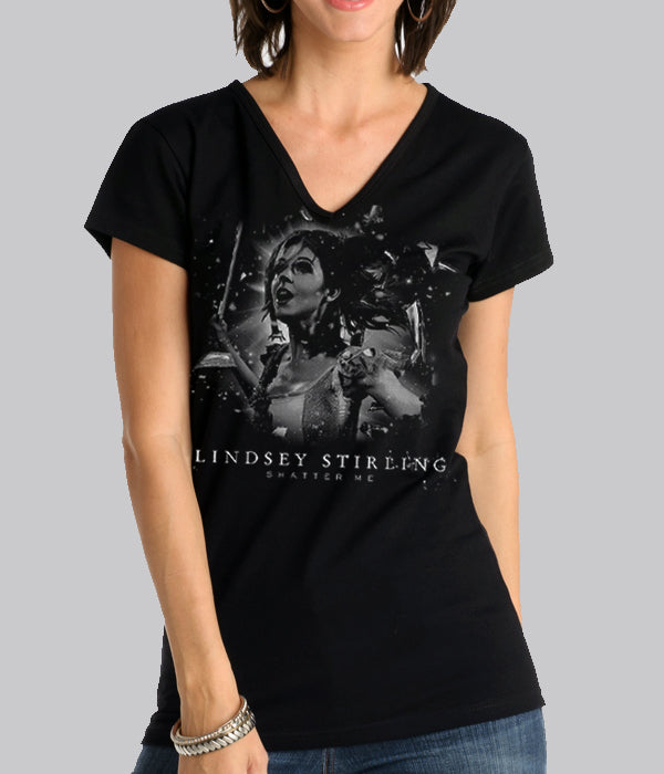 Lindsey Stirling Shatter Me Womens V-Neck Shirt
