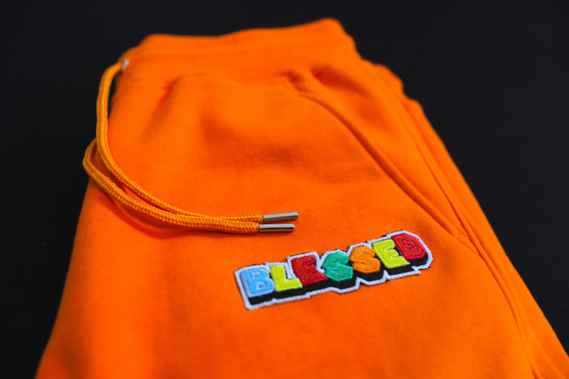 Orange Crew Neck Blessed Sweatsuit