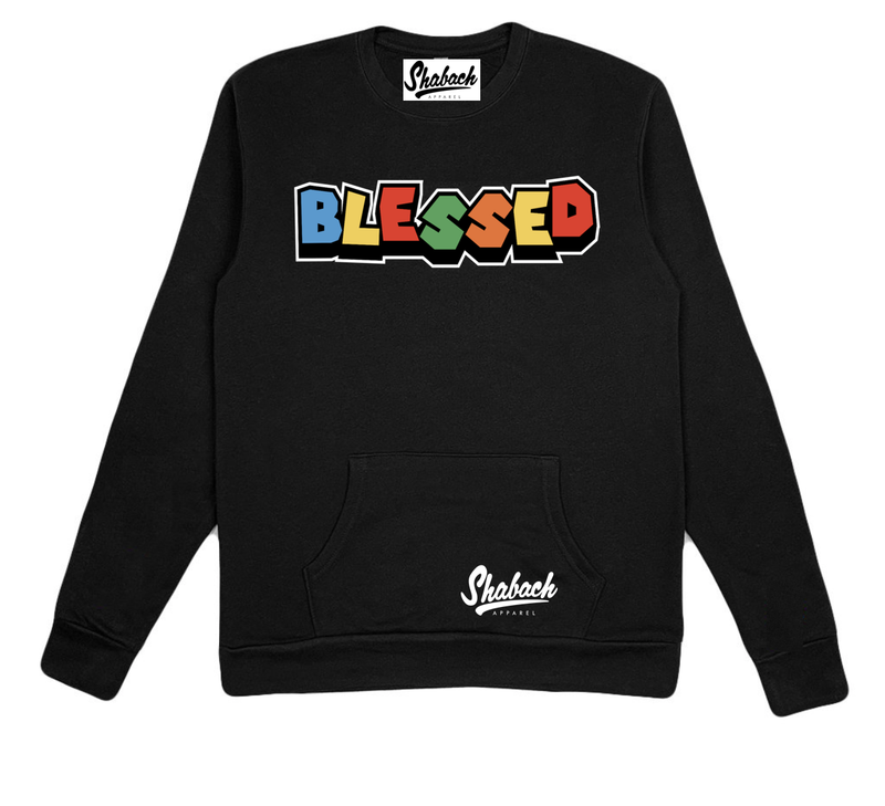 Blessed Black Crewneck w/Pocket Pouch