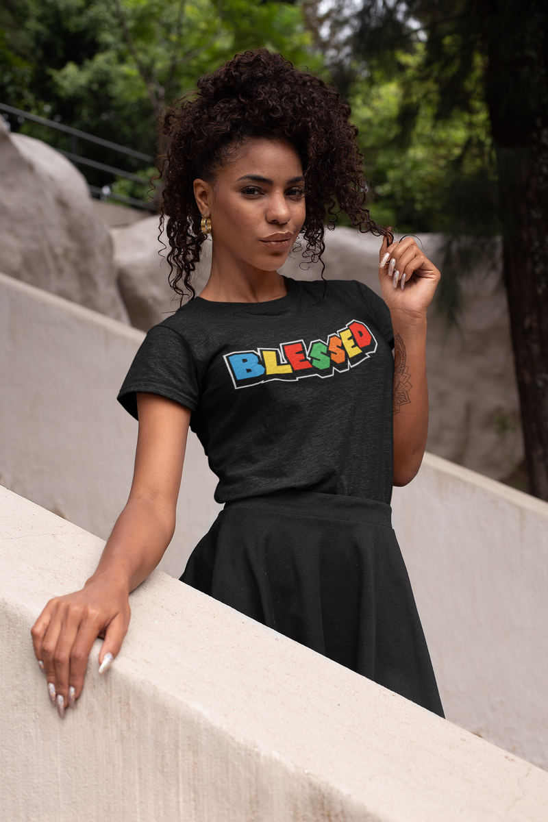 Black - BLESSED - Fitted Women's T-Shirt