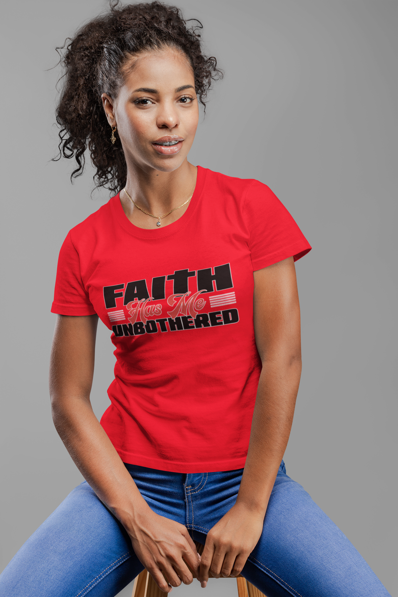 Red - Faith Has Me Unbothered - Fitted Women's T-Shirt