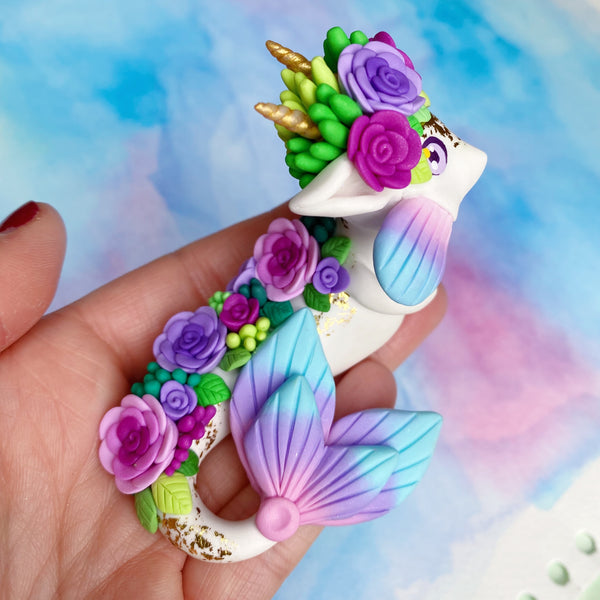 White Mermaid Dragon - Pink Purple Roses & Blue Gradient