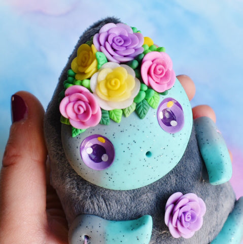 *free shipping* Turquoise and Grey Art Doll #7- Colorful Roses