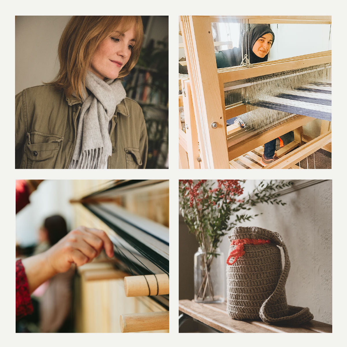 Grid of 4 images: 1 - A woman with ginger hair wears a Love Welcomes light grey cashmere scarf around her neck with an olive green jacket. 2- A Love Welcomes woman who is a refugee peers at the camera through a weaving loom, wearing a headscarf. 3 - A close up of a Love Welcomes woman's hand preparing the materials for weaving. 4 - A Love Welcomes hand crocheted bag in brown with orange tie.