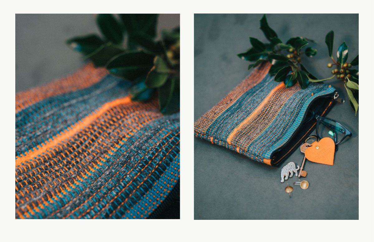 Love Welcomes hand woven clutch purse