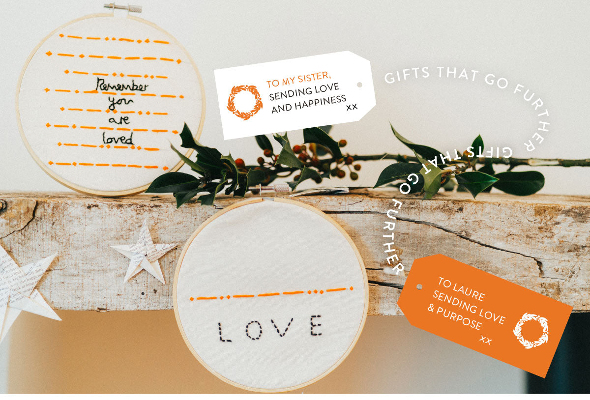 Gifts that go further - hand sewn embroidered hoops, orange and black