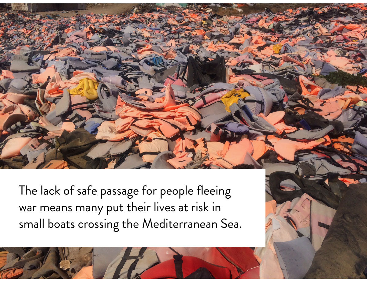 The lack of safe passage for people fleeing war means many put their lives at risk in small boats crossing the Mediterranean Sea.