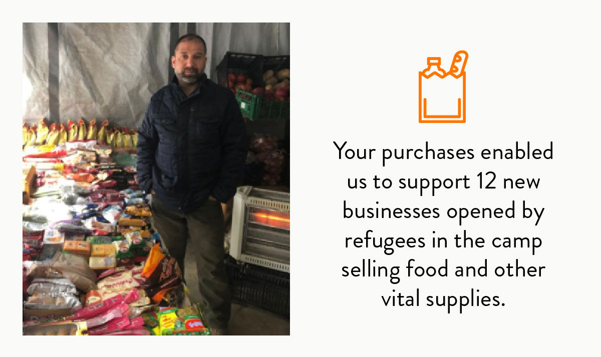 Man standing in his food store in a refugee camp in Greece.